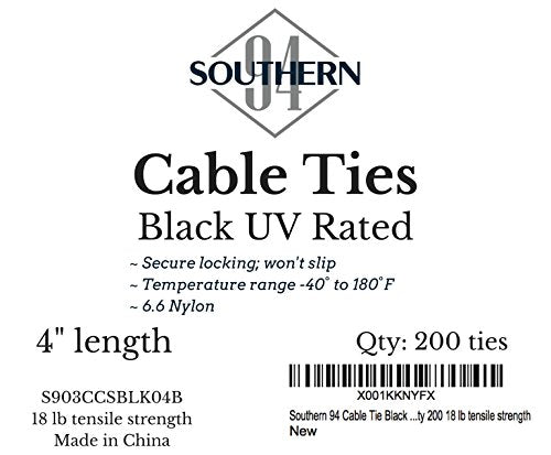 Southern 94 UV Rated Cable Ties in Black 8 Inch Length