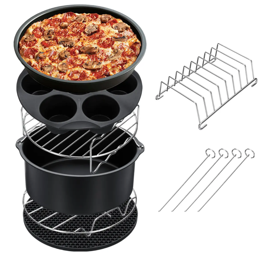 4MyHome™ 7PCS Air Fryer Accessories Non Stick Set Fries Baking Basket Pizza Pan Home Kitchen Tool
