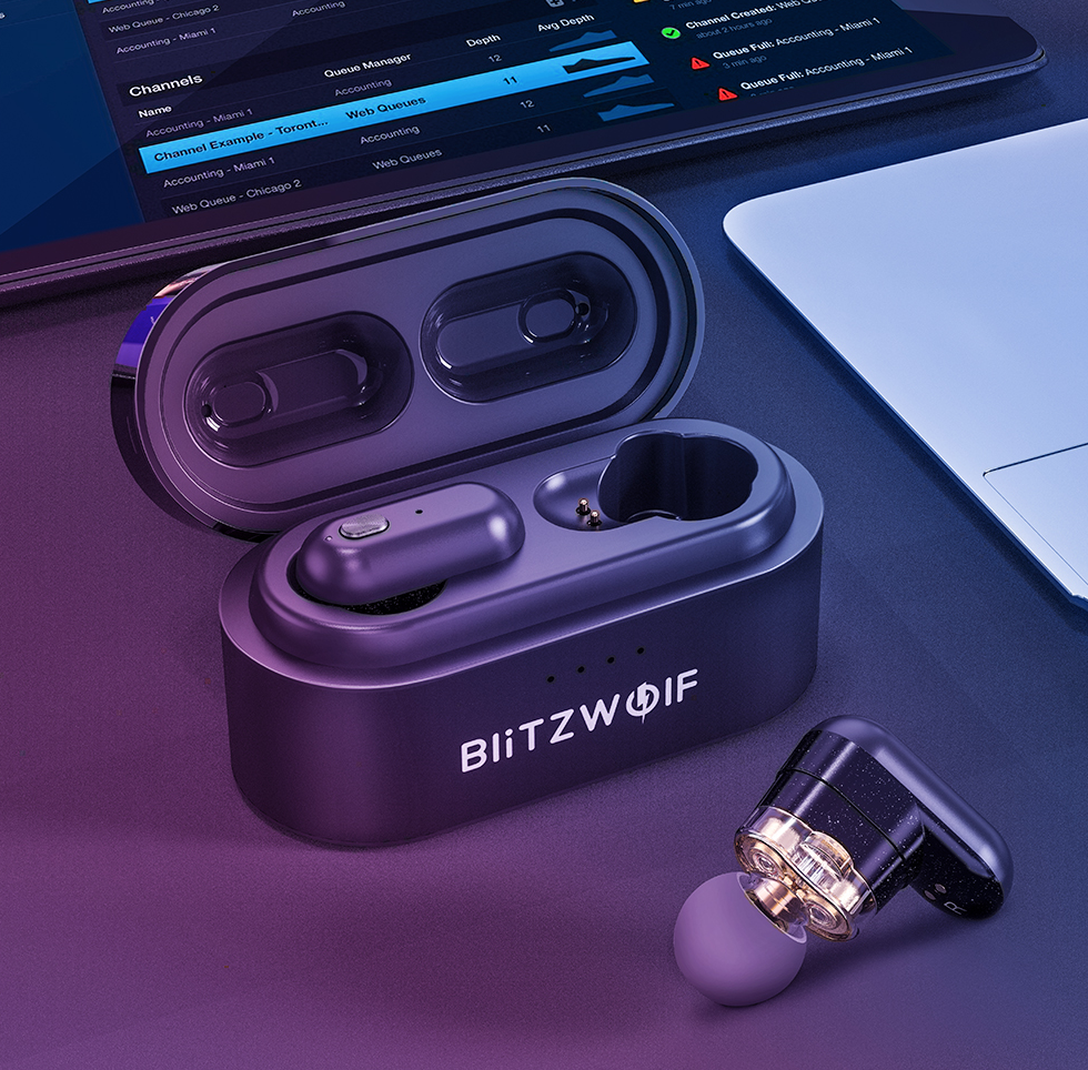 BlitzWolf® Bluetooth Earbuds True Wireless Waterproof Noise Cancelling Headphones V5.0 BW-FYE7