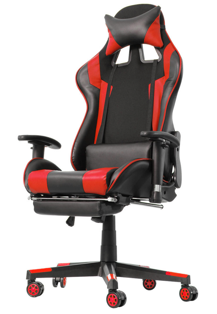 CastleGoods™ Gaming Chair Desk Computer Ergonomic Office Home Racing Chair Desk with Adjustable Armrests High-Back PU Leather Laptop Desk Chair with Footrest