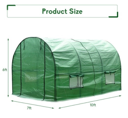 Sundase™ 10' x 7' x 6' Walk In Greenhouse Large Plant Hot House for Gardening & Planting Grow House