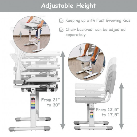 4MyHome™ Kids Desk Adjustable Desk Chair Set with Lamp and Bookstand
