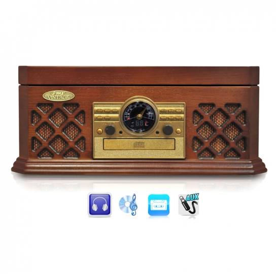 Pyle Vintage Vinyl Record Player 3 Speed Turntable with AM/FM, CD & Cassette Player Wooden Design