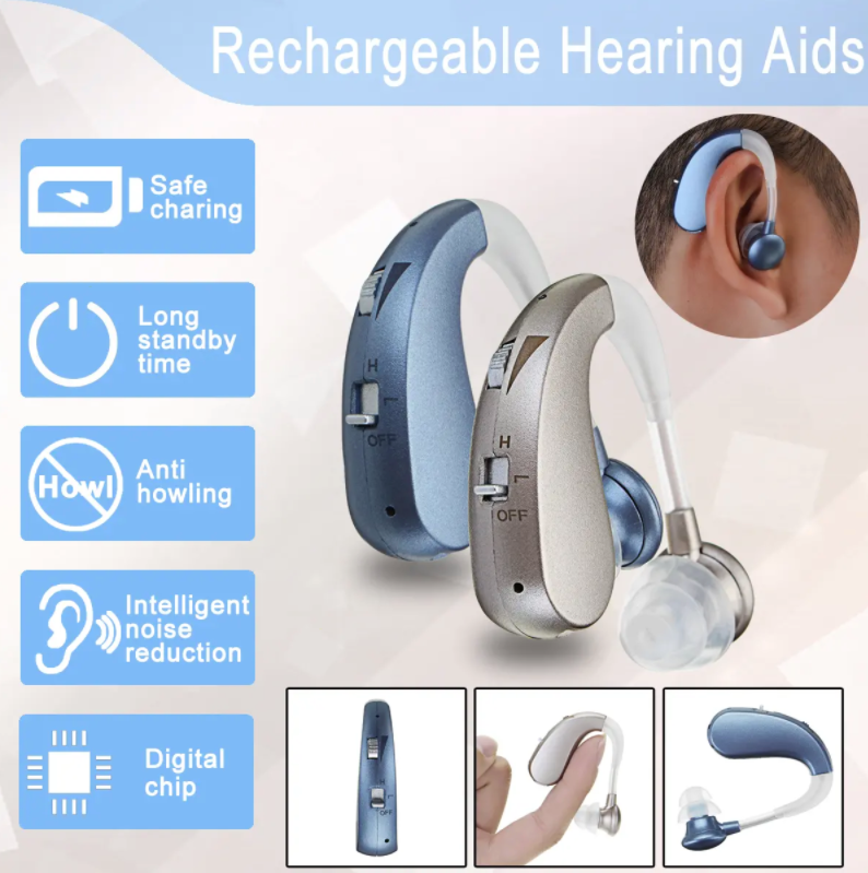 TechBolt™ Rechargeable Hearing Aids Hearing Amplifier Noise Reduction Adaptive Feedback Cancellation - Silver