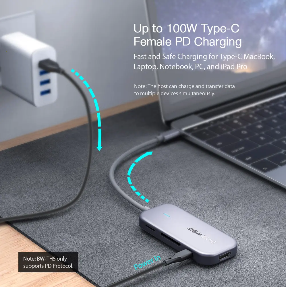 BlitzWolf® 7-in-1 USB Data Hub with 3-Port USB 3.0, HDMI, TF-SD Card Reader, USB-C PD Charging 4K Display BW-TH5 for MacBooks Laptops iPad Pros