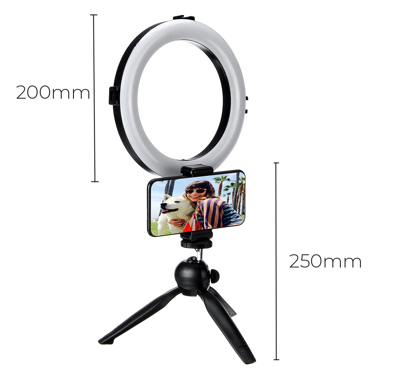 TechBolt™ LED Selfie Ring Light with Tri Color White, Warm and Soft Light Dimmable Settings