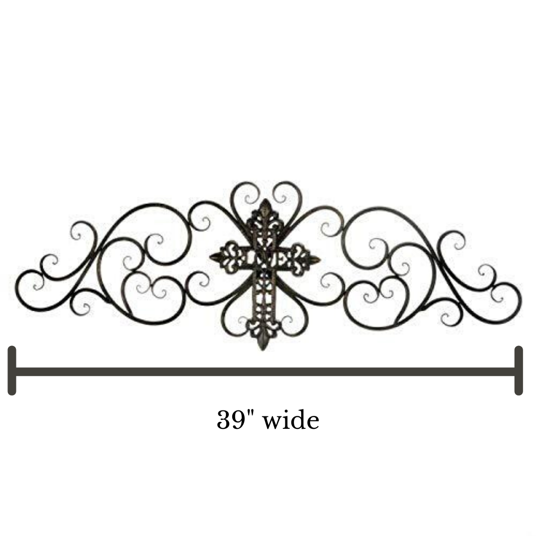 CastleGoods™ Decorative Metal Cross Scrollwork Wall Plaque - Large Iron Scroll Art Decor