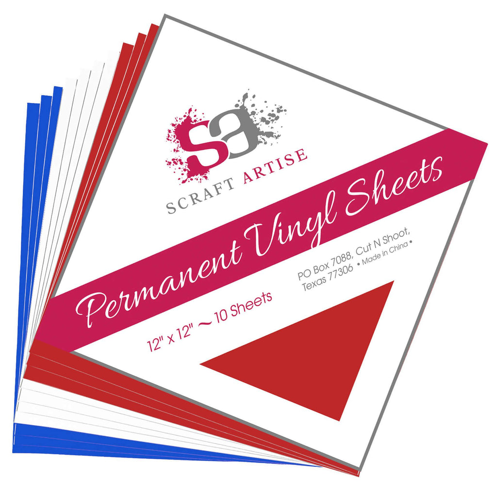 Scraft Artise Independence Matte Permanent Adhesive Craft Vinyl 12 x 12 Sheets - 10 Pack