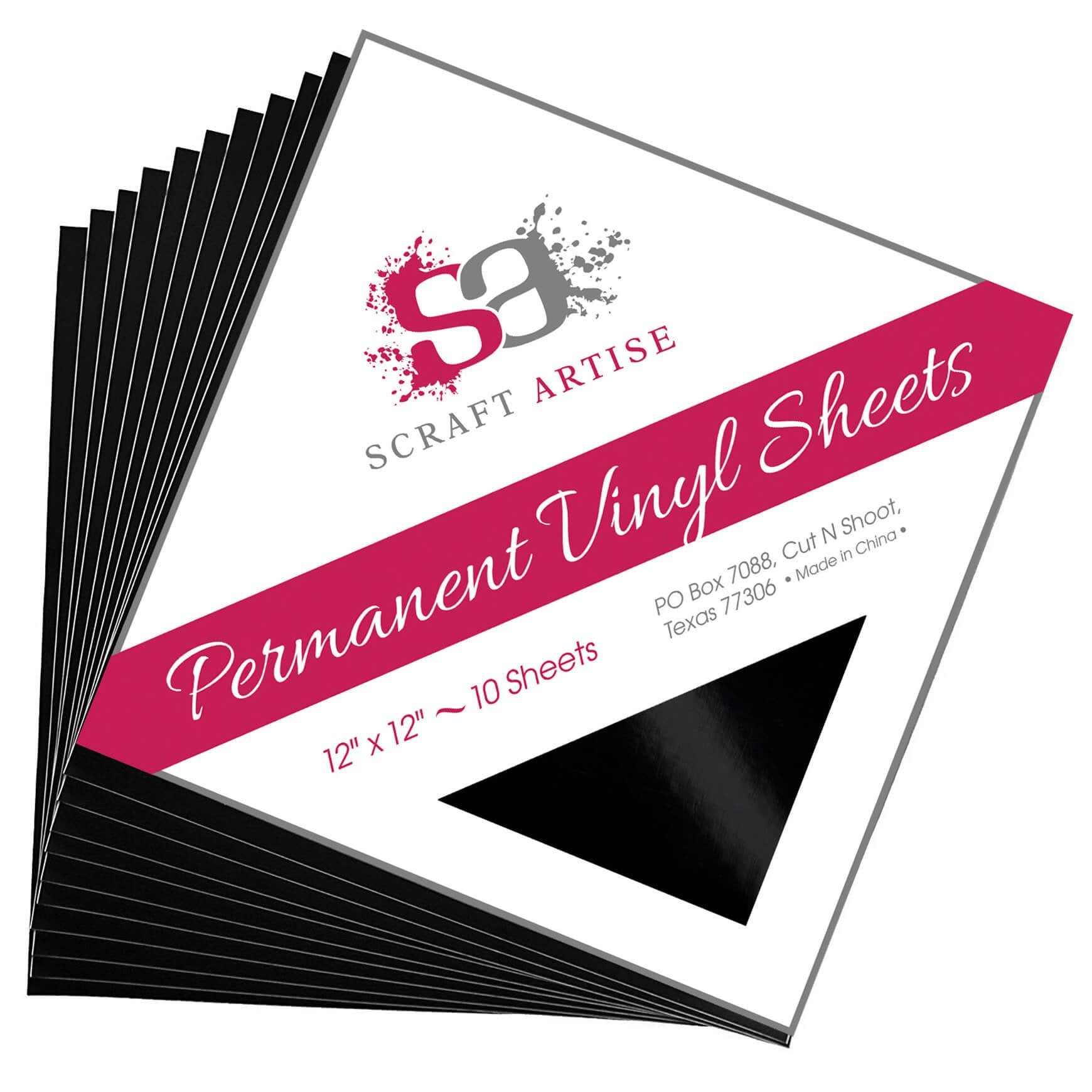 Scraft Artise Black Glossy Permanent Adhesive Craft Vinyl 12 x 12 Sheets - 10 Pack