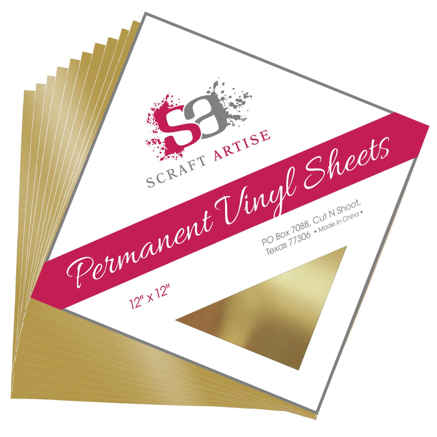 Scraft Artise Gold Metallic Glossy 12x12 Permanent Adhesive Craft Vinyl - 10 Pack