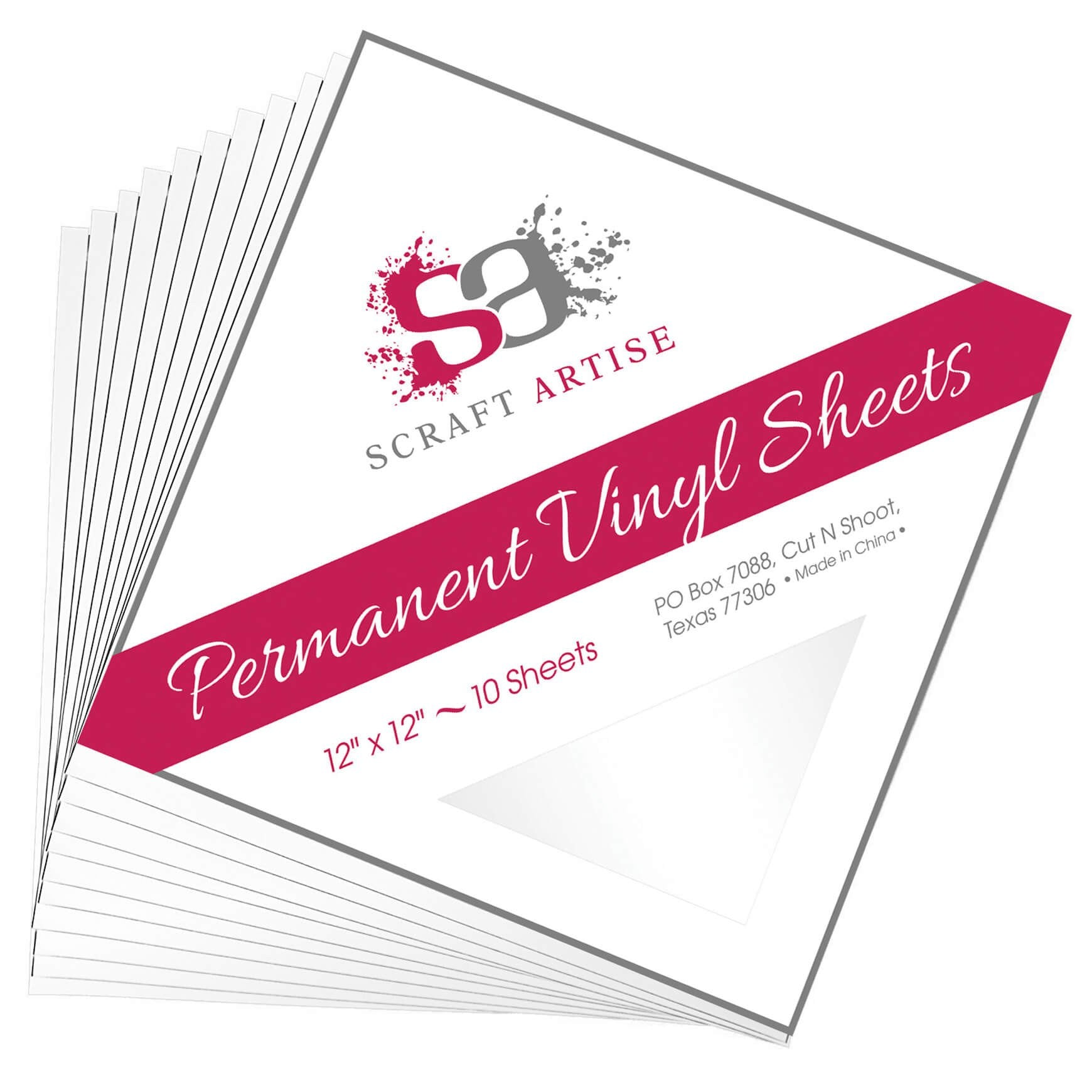 Scraft Artise White Glossy Permanent Adhesive Craft Vinyl 12 x 12 Sheets - 10 Pack