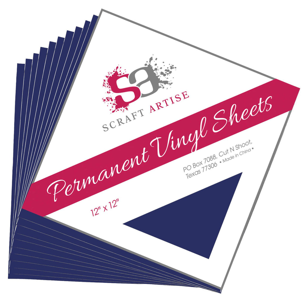 Scraft Artise Navy Blue Matte Permanent Adhesive Craft Vinyl 12 x 12 Sheets - 10 Pack