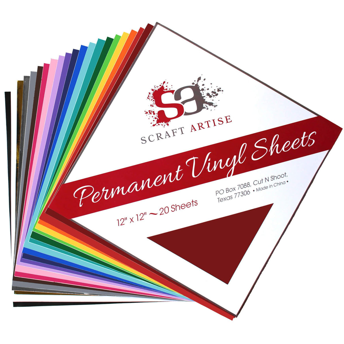 Assorted Colors 20 Sheet Pack of 12 x 12 Matte & Glossy Finish Permanent Outdoor Adhesive Craft Vinyl