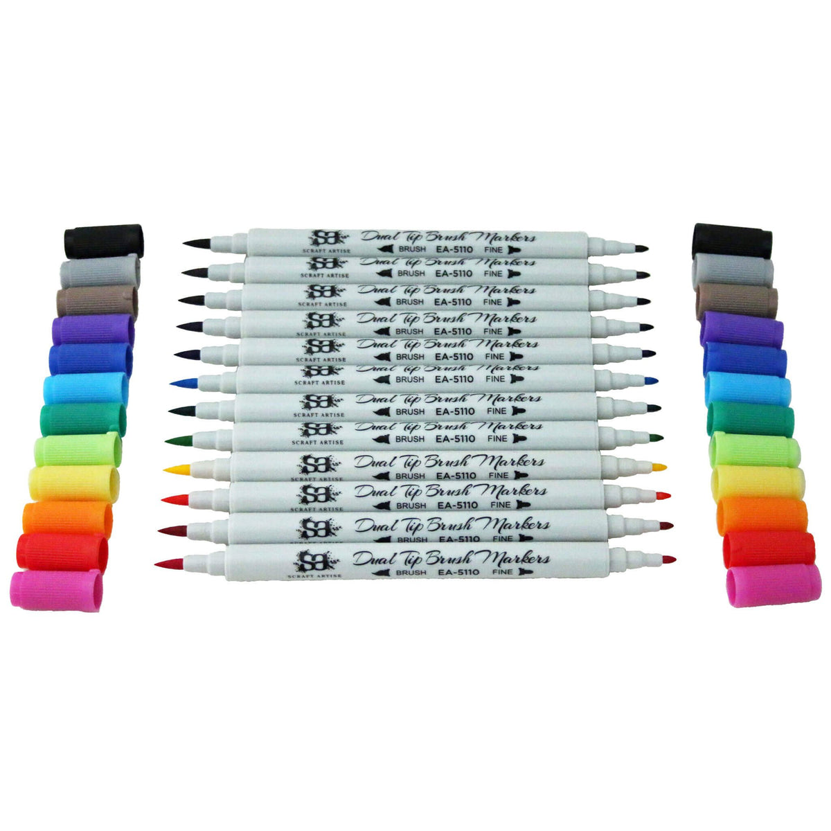 Dual Tip Brush Markers 12 Rainbow Colors with Water Based Ink