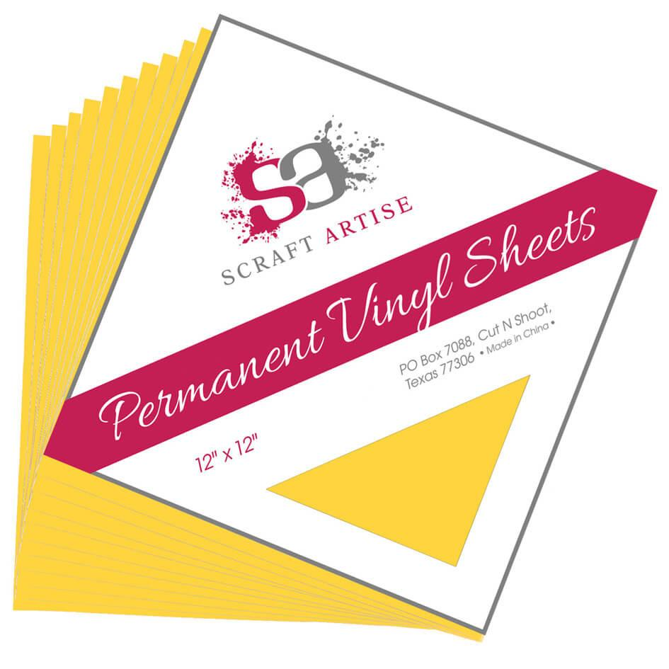 Scraft Artise Yellow Matte Permanent Adhesive Craft Vinyl 12 x 12 Sheets - 10 Pack
