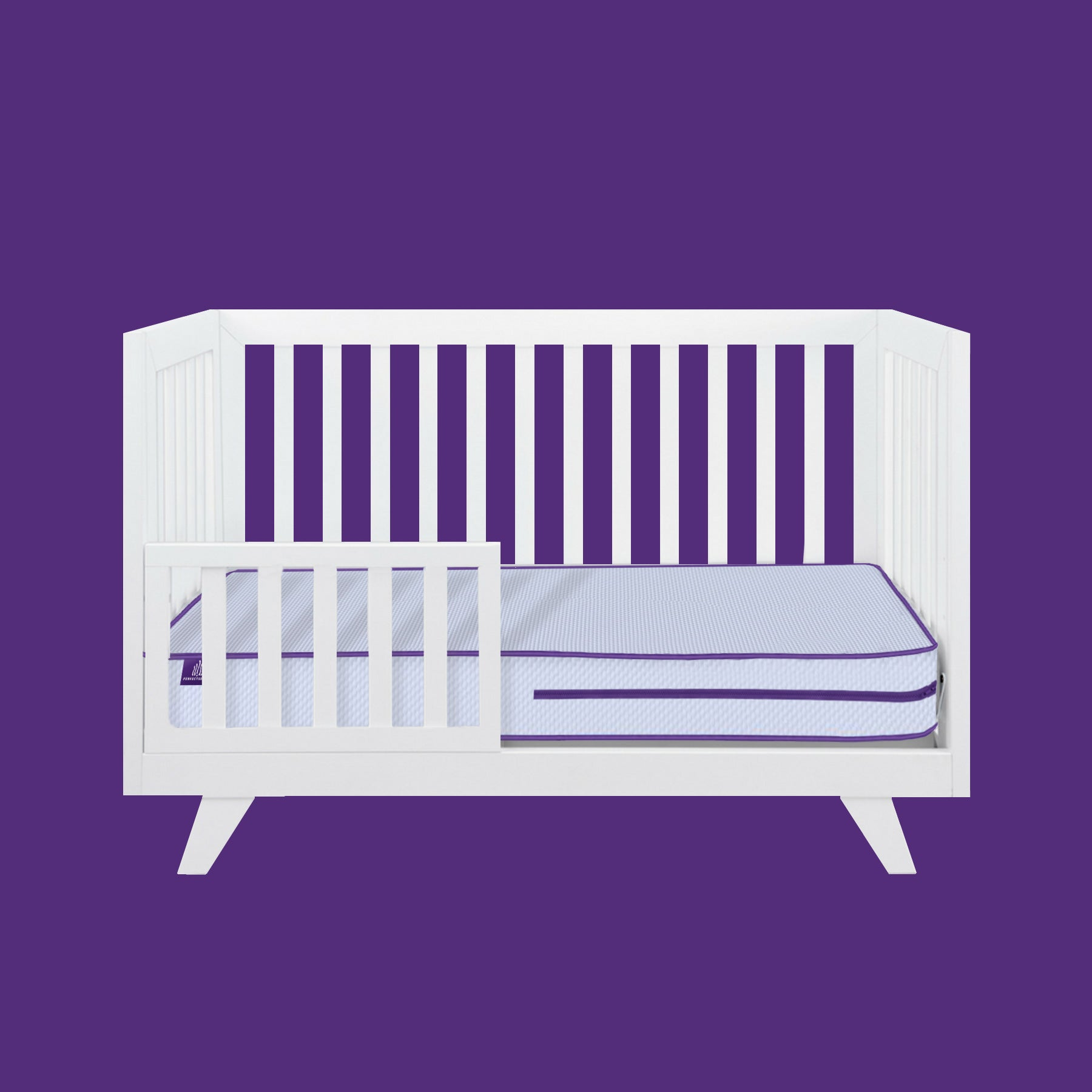 white baby crib bed and mattress against purple background