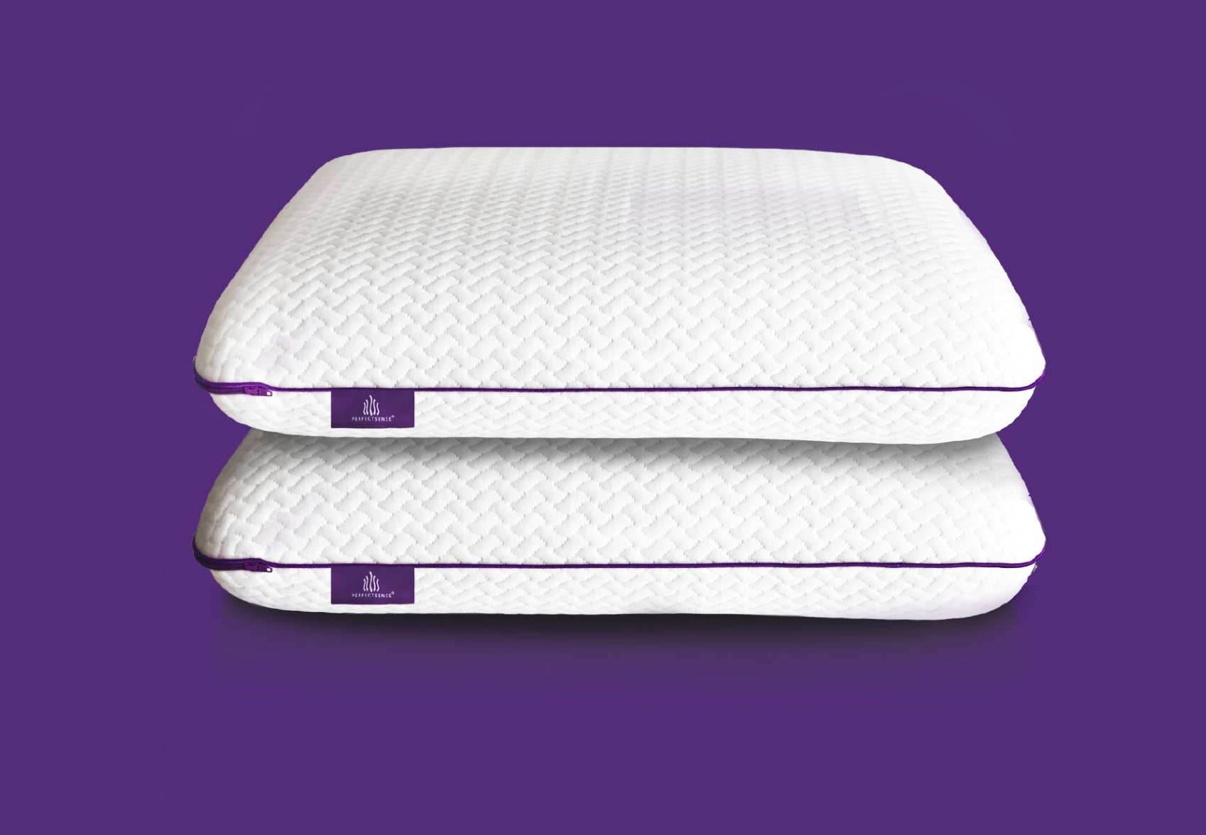 2 queen size memory foam pillows stacked atop each other against purple background