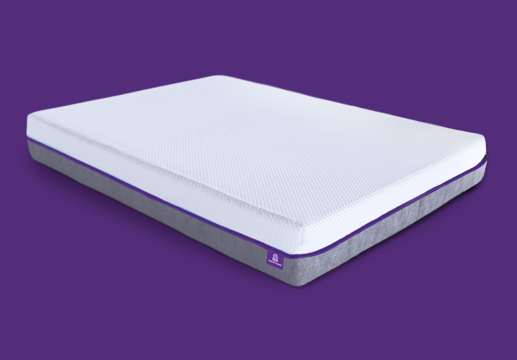 white memory foam mattress against purple background