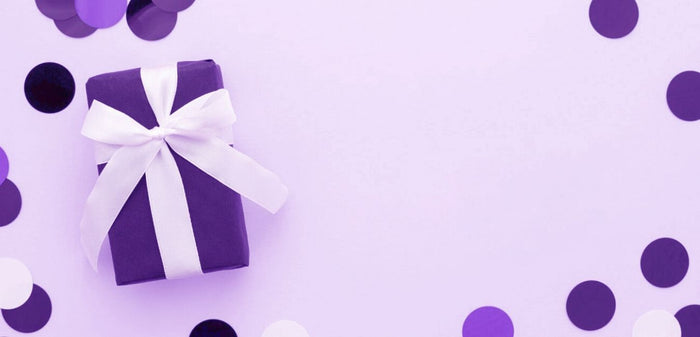 close up of a purple present