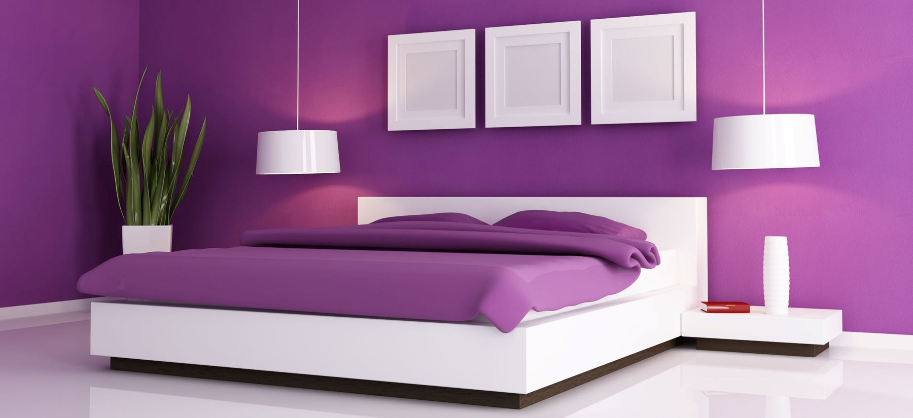 purple themed bedroom with large platform bed and white accents