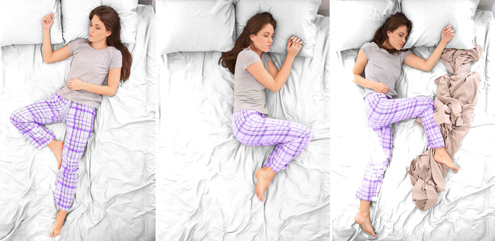 3 images of a woman sleeping in different positions