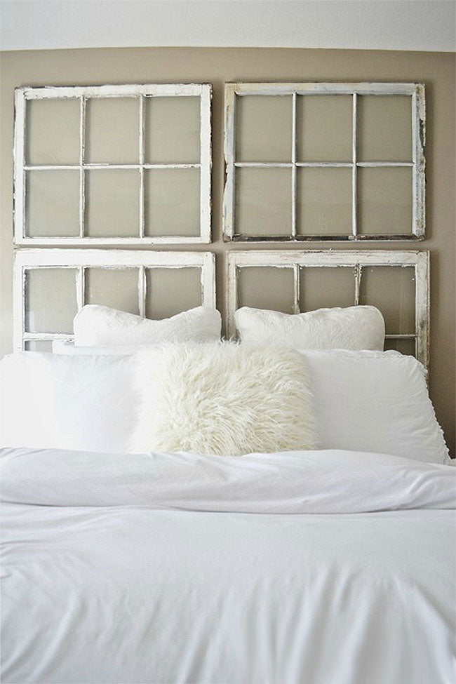 DIY Vintage Window Headboard