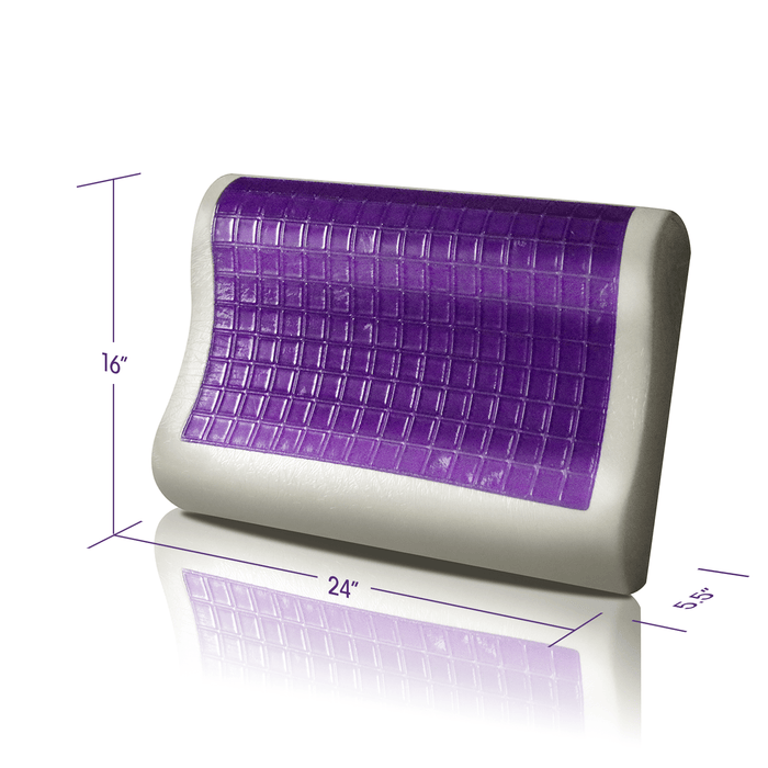 "The demensions of the Memory Foam Pillow with Ergonomic Contouring Cooling Gel Pad are 16"" by 24"""