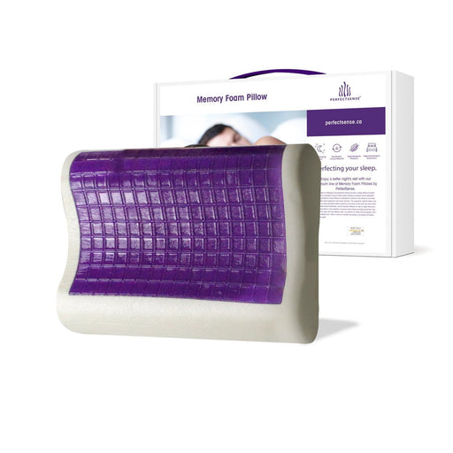 Memory Foam Pillow with Ergonomic Contouring Cooling Gel Pad and Box