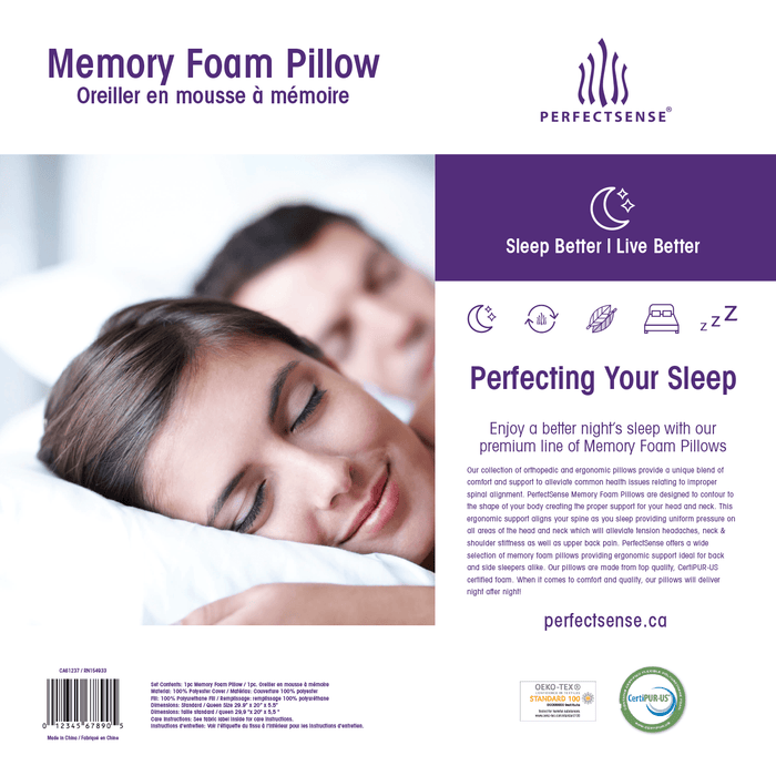 Memory Foam Pillow with Ergonomic Contouring Cooling Gel Pad