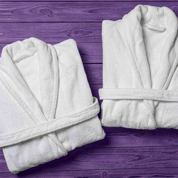 Close up of two bathrobes