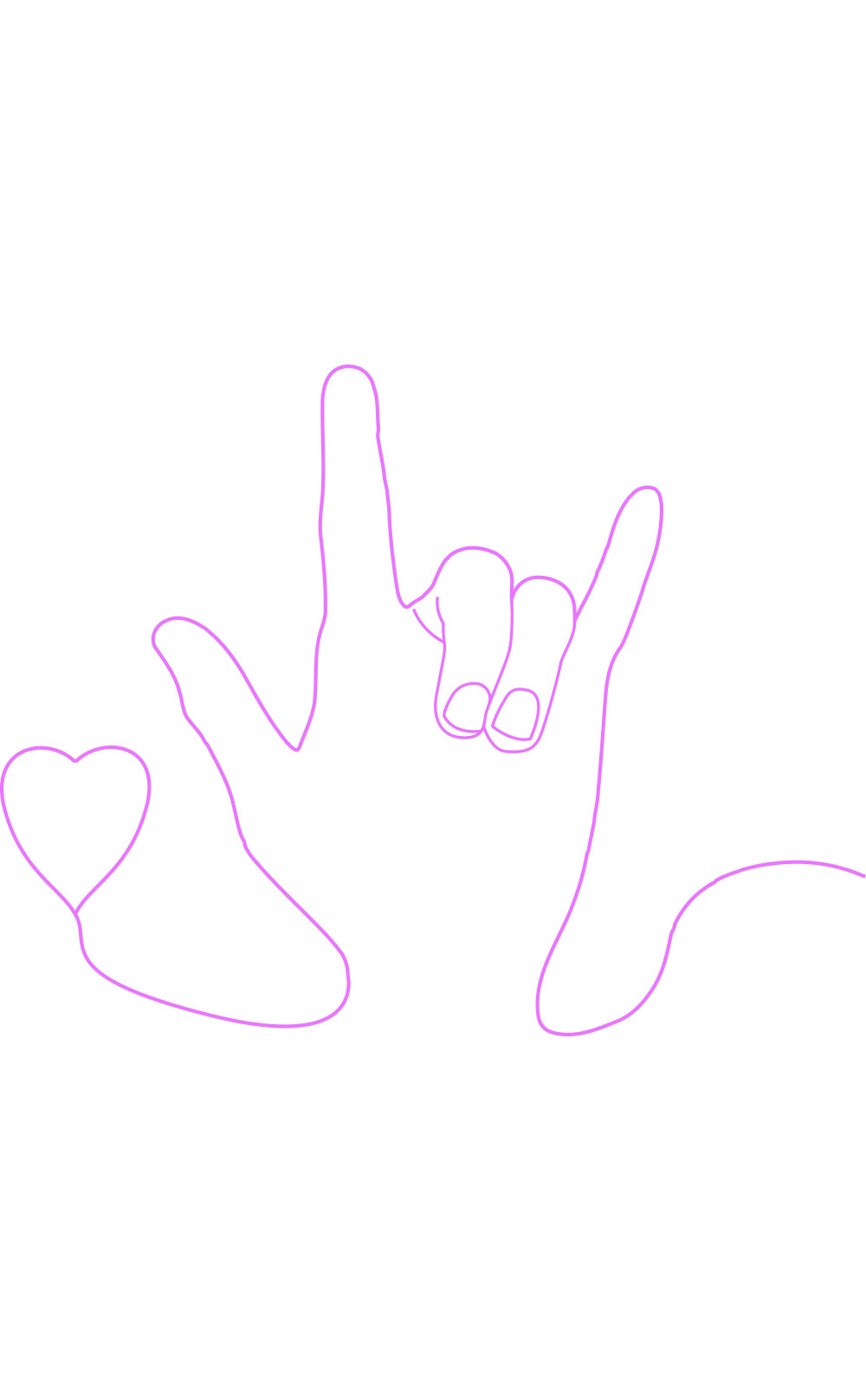Right-handed sign language for 'I love you' , white background