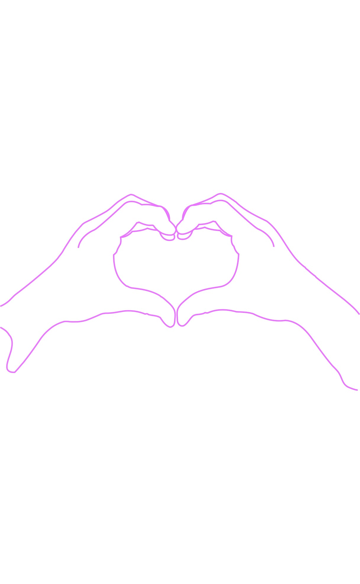 white and purple wall art, two hands making a heart shape