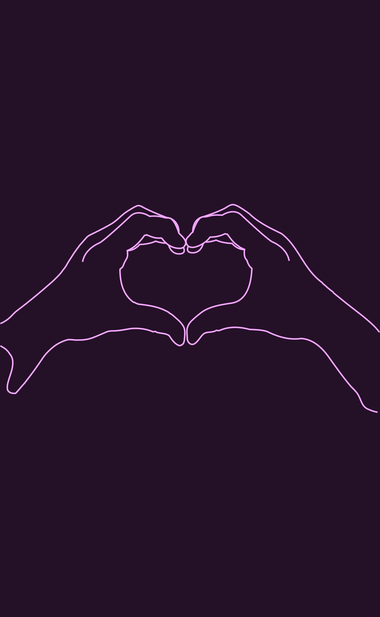 black and purple wall art, two hands making a heart shape