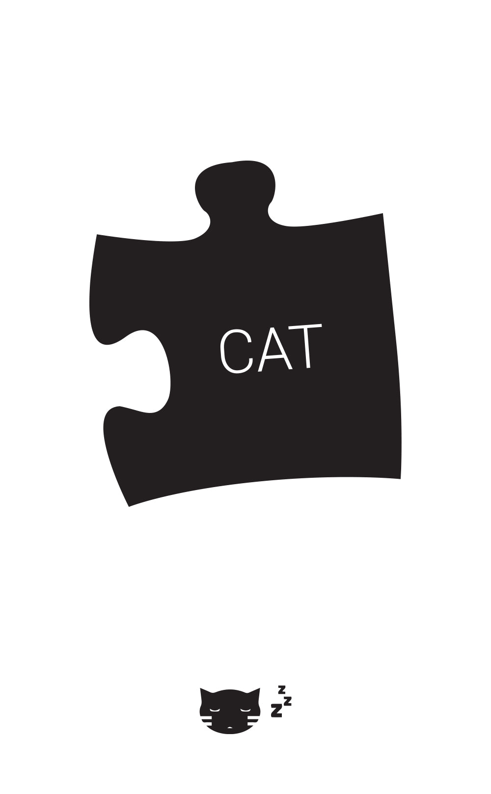 Black puzzle piece with 'cat' written on it