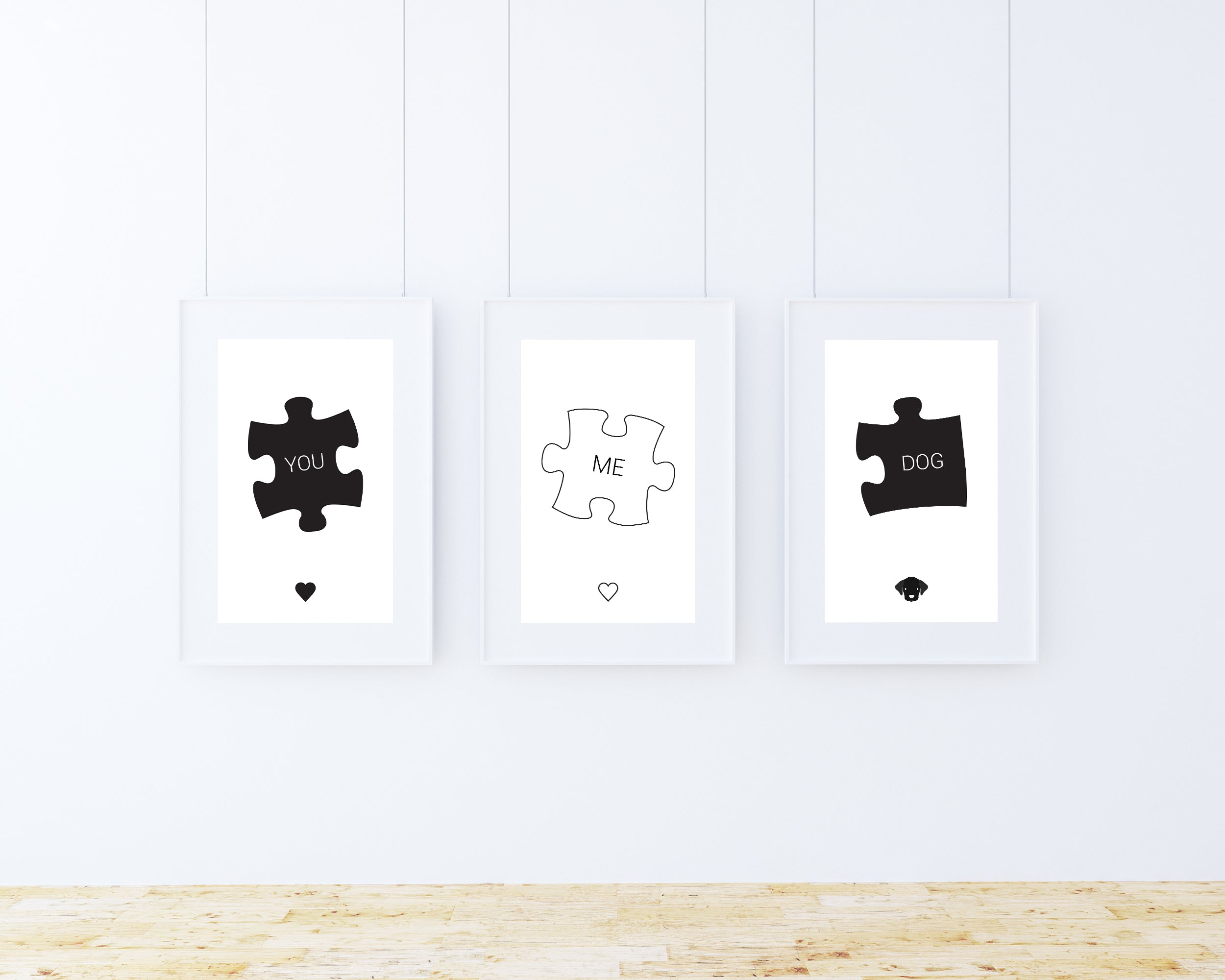 'You' 'Me' 'Dog' wall art prints in frames on a wall