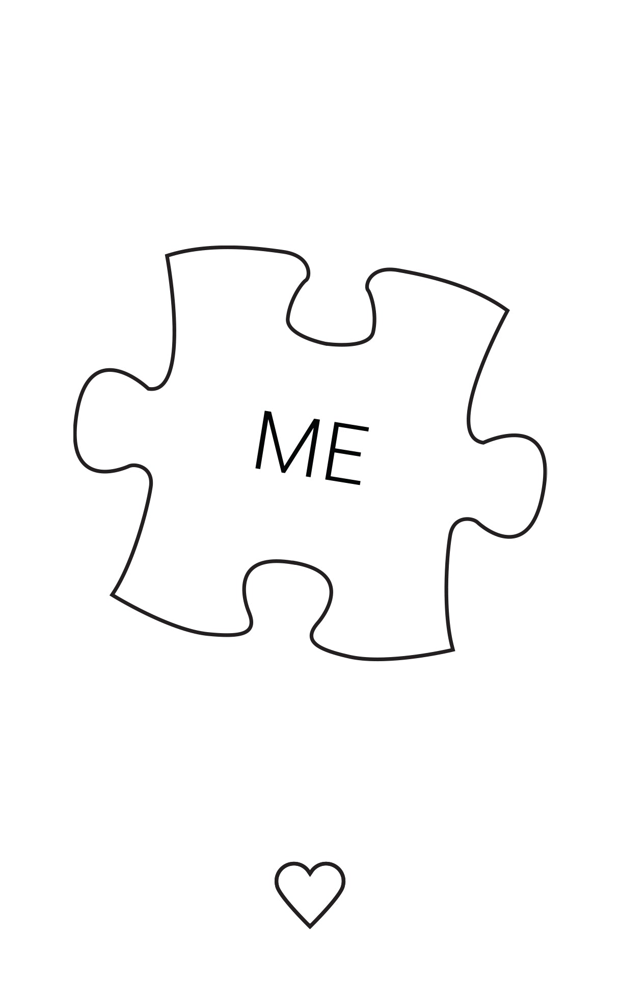 White puzzle piece with 'Me' written on it