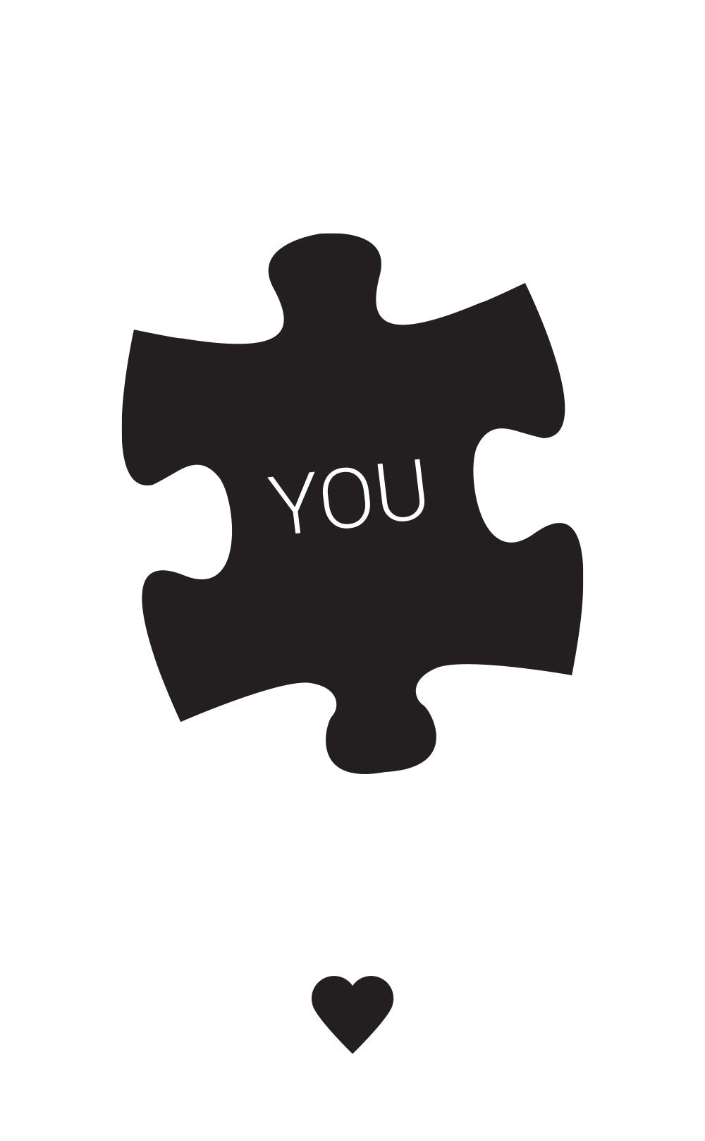 "Black puzzle piece with 'You"" written on it"