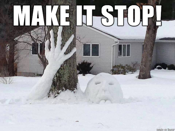 Make it Stop meme, snowman head and arm buried