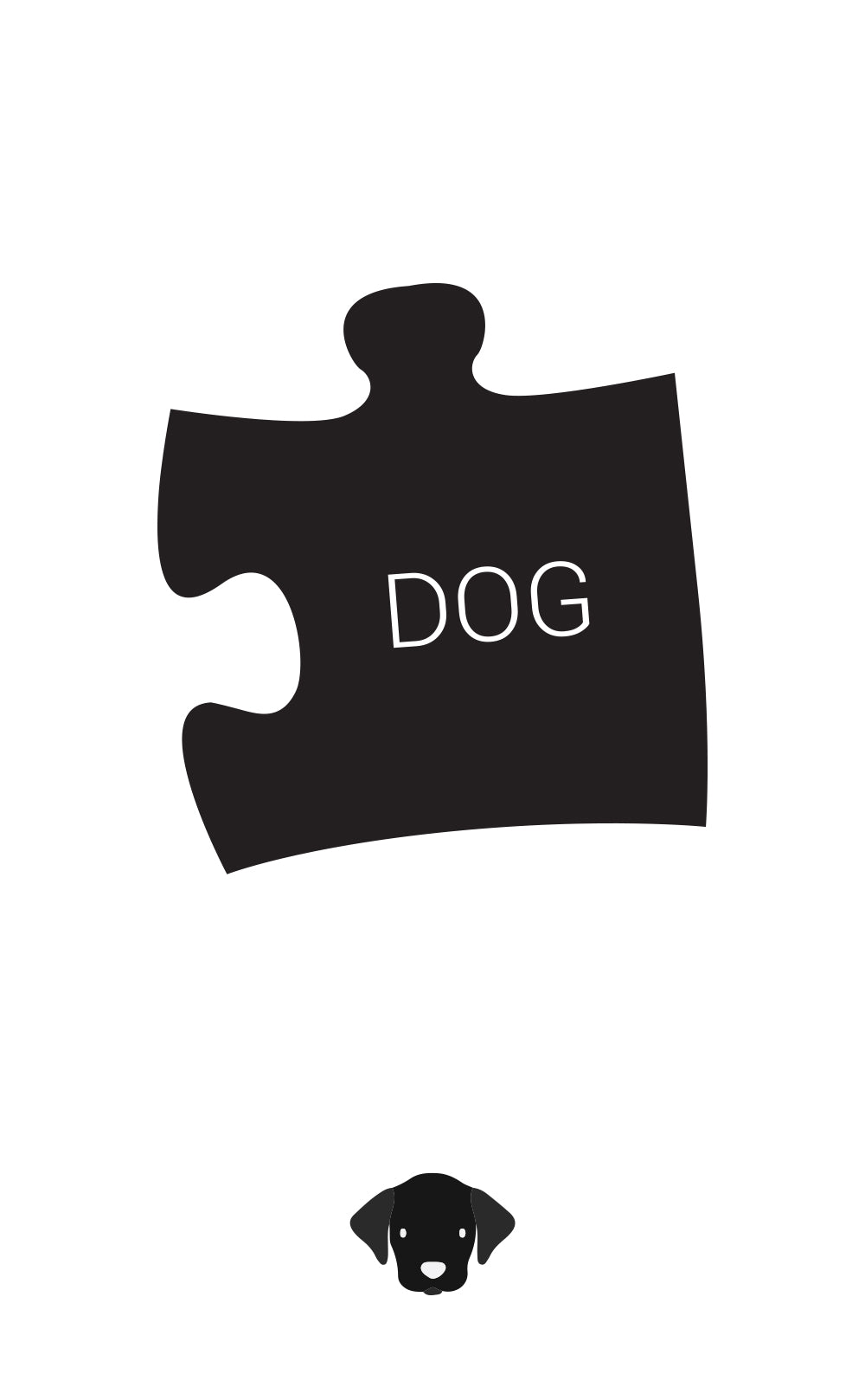 Black puzzle piece with 'dog' written on it