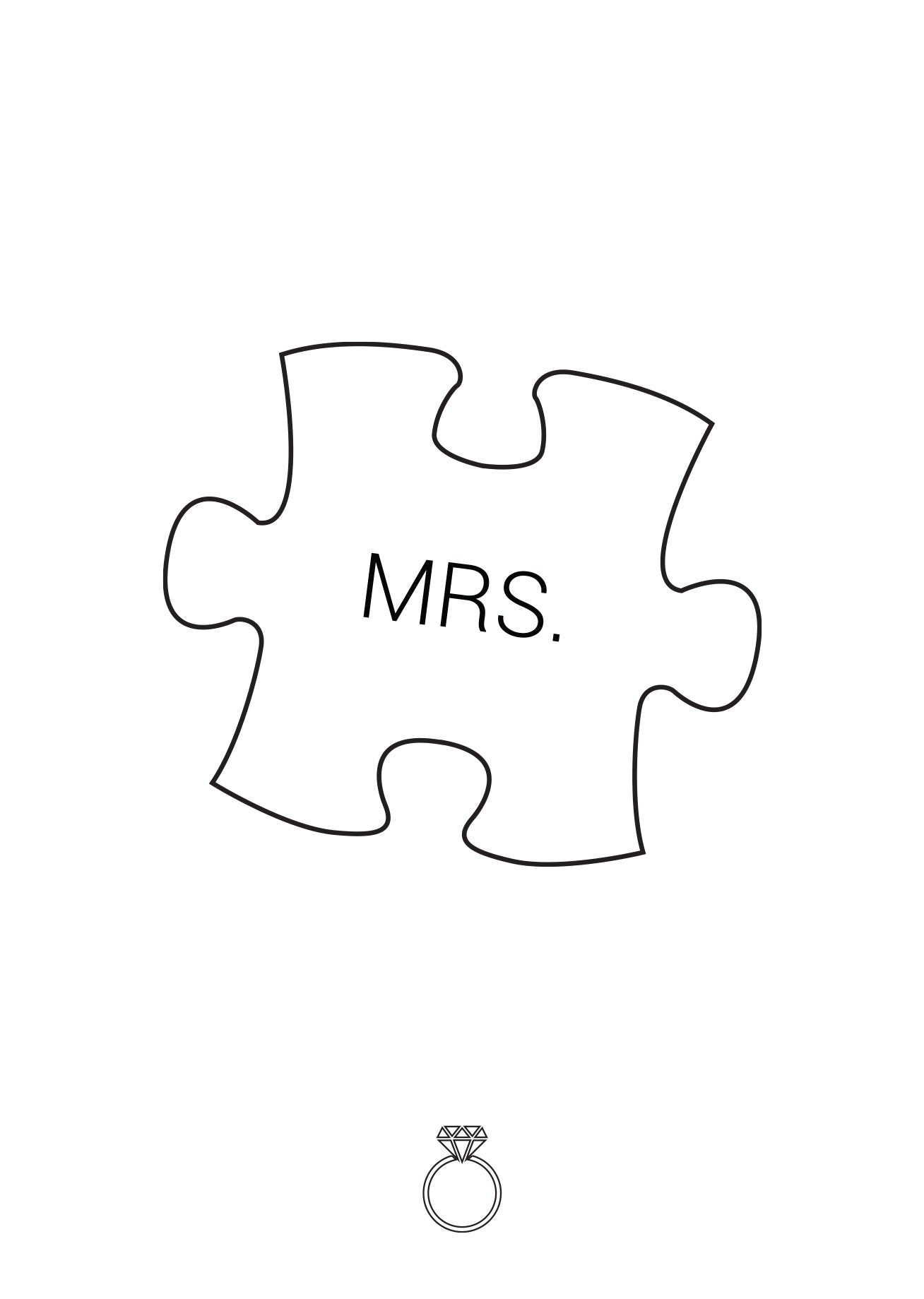 White puzzle piece with 'Mrs.' written on it