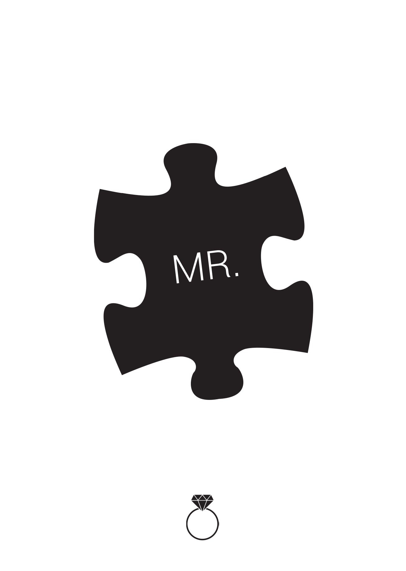 "Black puzzle piece with 'Mr."" written on it"