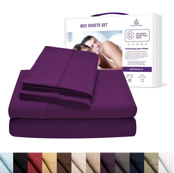 purple bed sheets set from PerfectSense