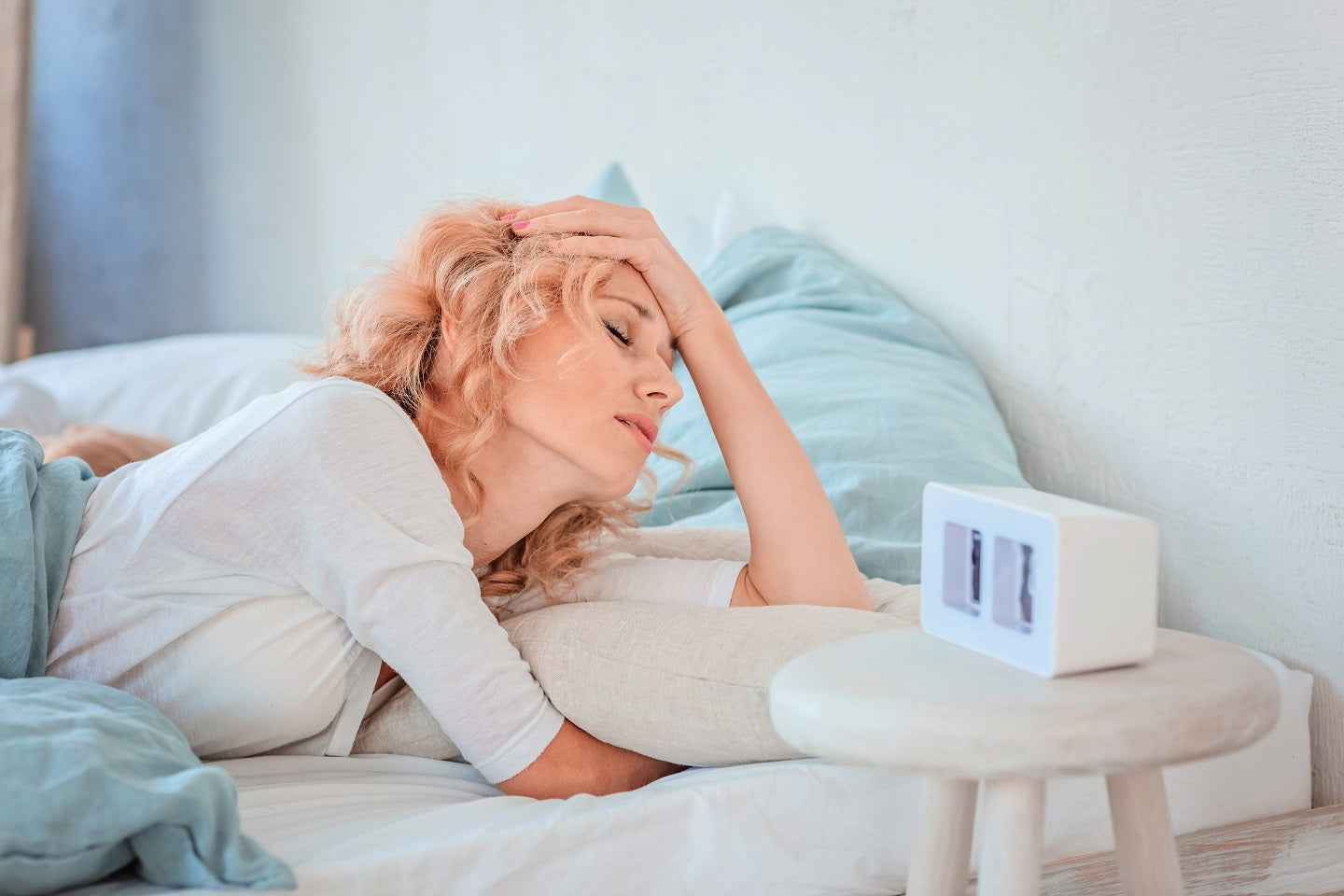 Woman experiencing sleep disorder, insomnia