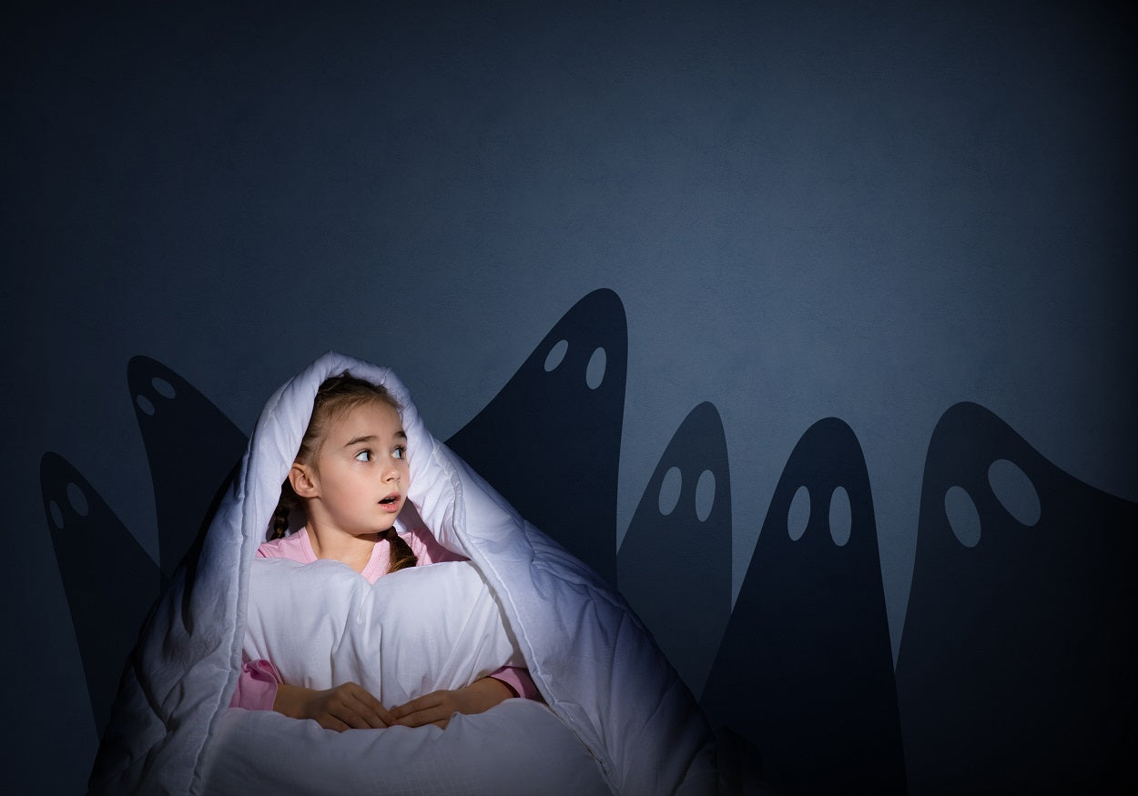 Frightened girl experiencing night terrors sleep disorder sees ghosts on wall