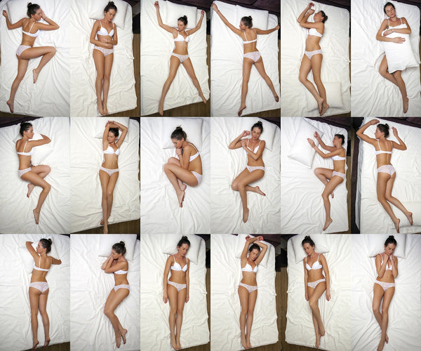 multiple images of woman sleeping in different positions