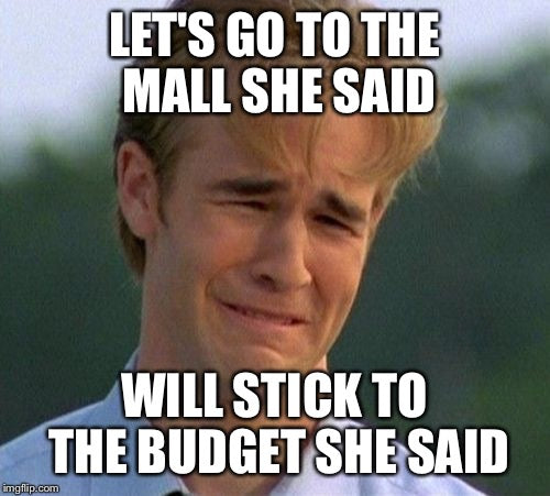 Shopping meme: Let's go to the mall, she said, will stick to budget, she said
