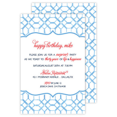 Blue Pattern Invitation