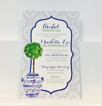 Topiary in Blue Urn Invitation