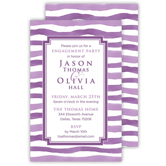 Wavy Violet Stripe Invitation