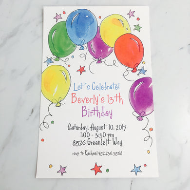Balloons Invitation